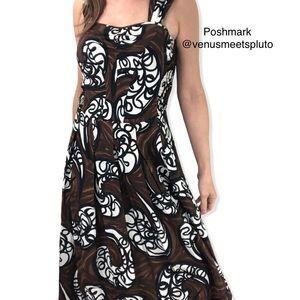 Nic + Zoe dress Sz 4 Pleated Midi Sundress Brown